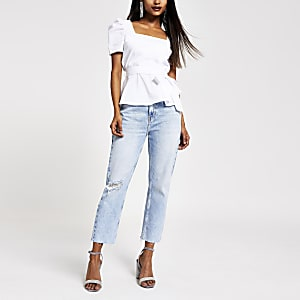 Petite white square neck top