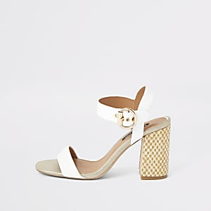 White woven block heel sandals