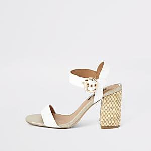 White woven block heel sandals
