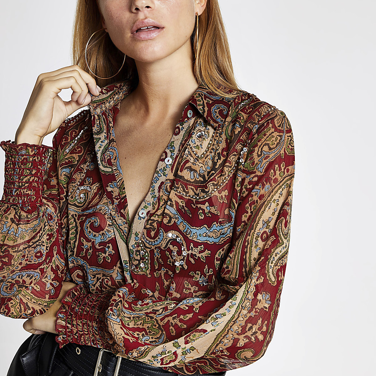 Red print long sleeve embellished sheer shirt
