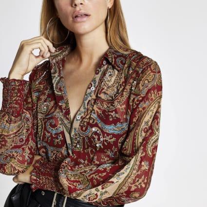 Red print long sleeve embellished sheer shirt