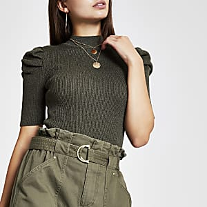 Khaki metallic puff sleeve top