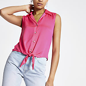 Bright pink tie front shirt