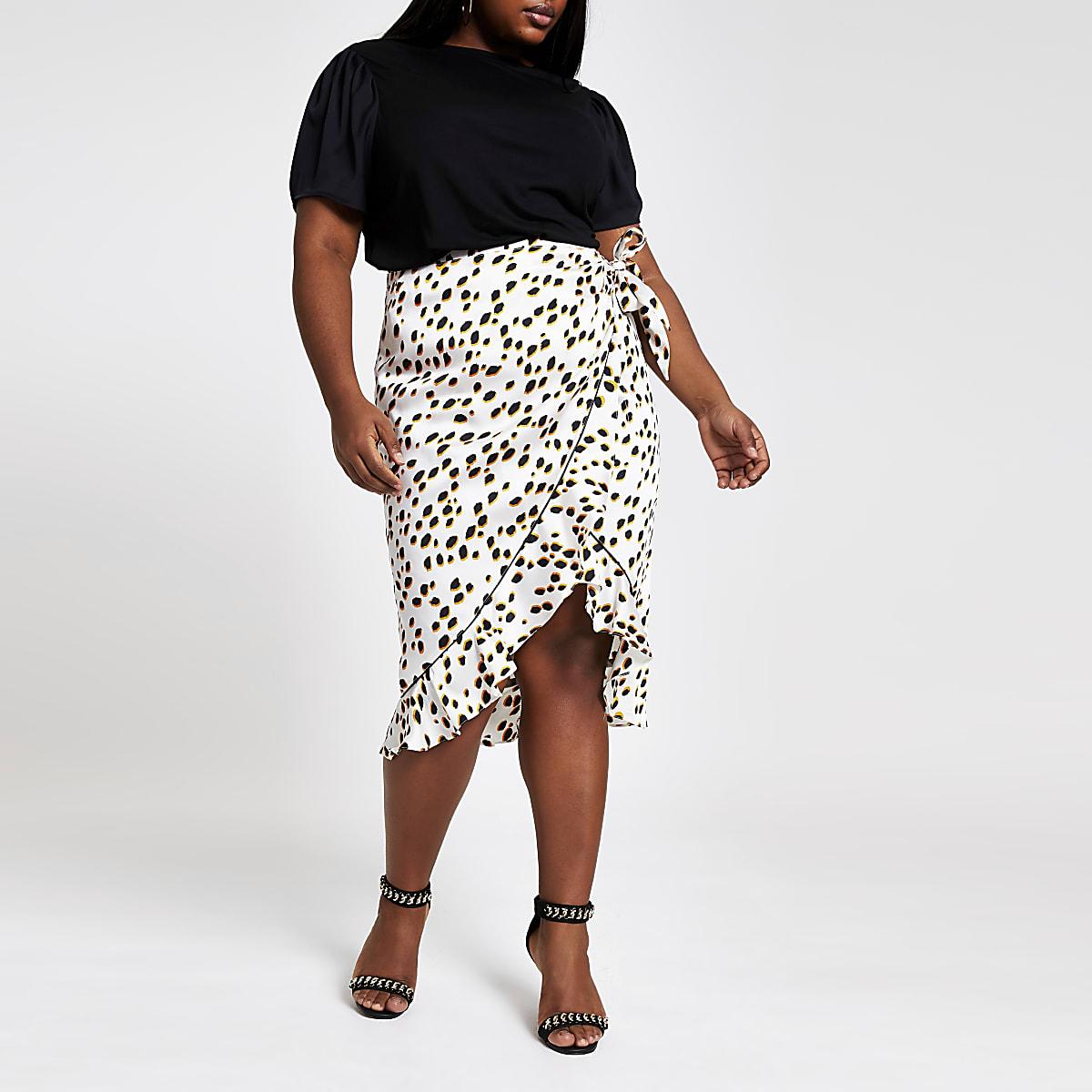 Plus – T-shirt noir à manches contrastantes