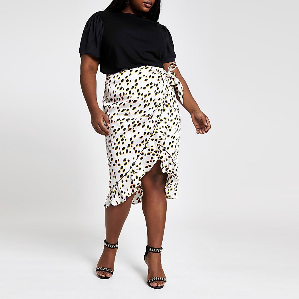 RI Plus - Zwart T-shirt met contrasterende mouwen
