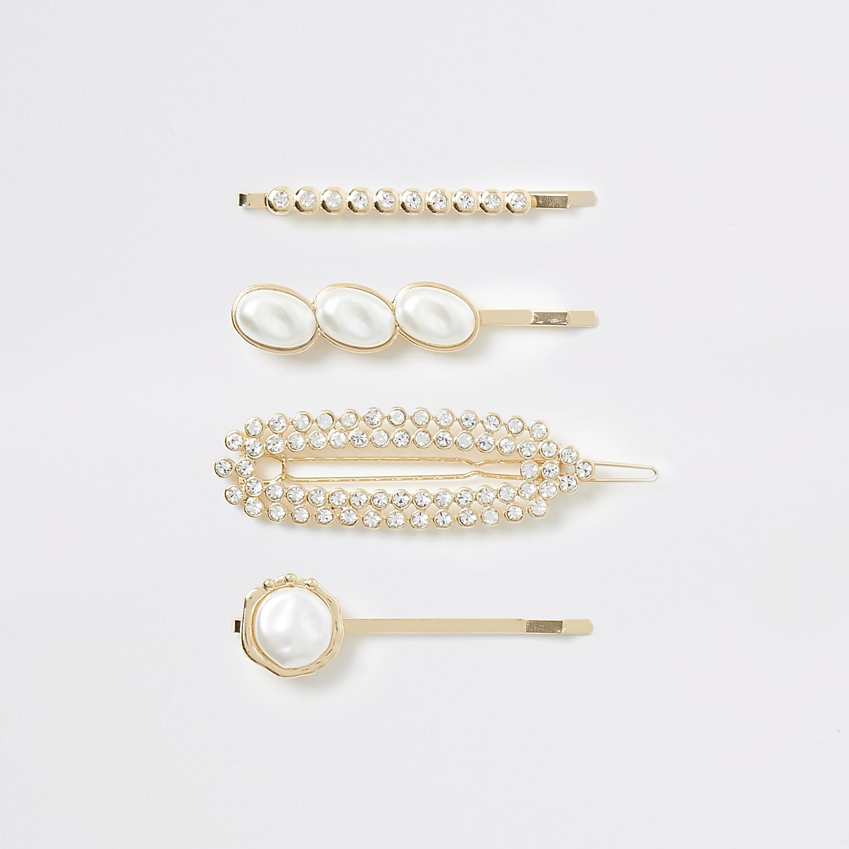 Gold color faux pearl hair clip multipack