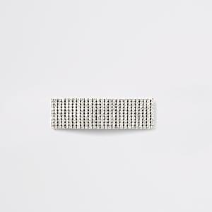 Silver rhinestone hair clip