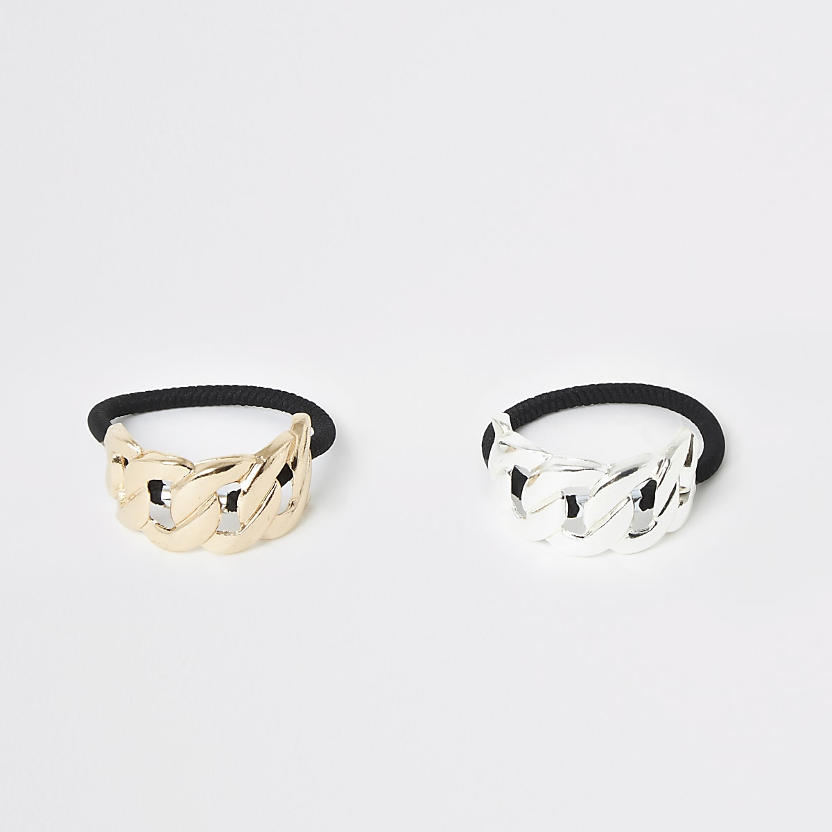 Gold silver color curb hair tie multipack