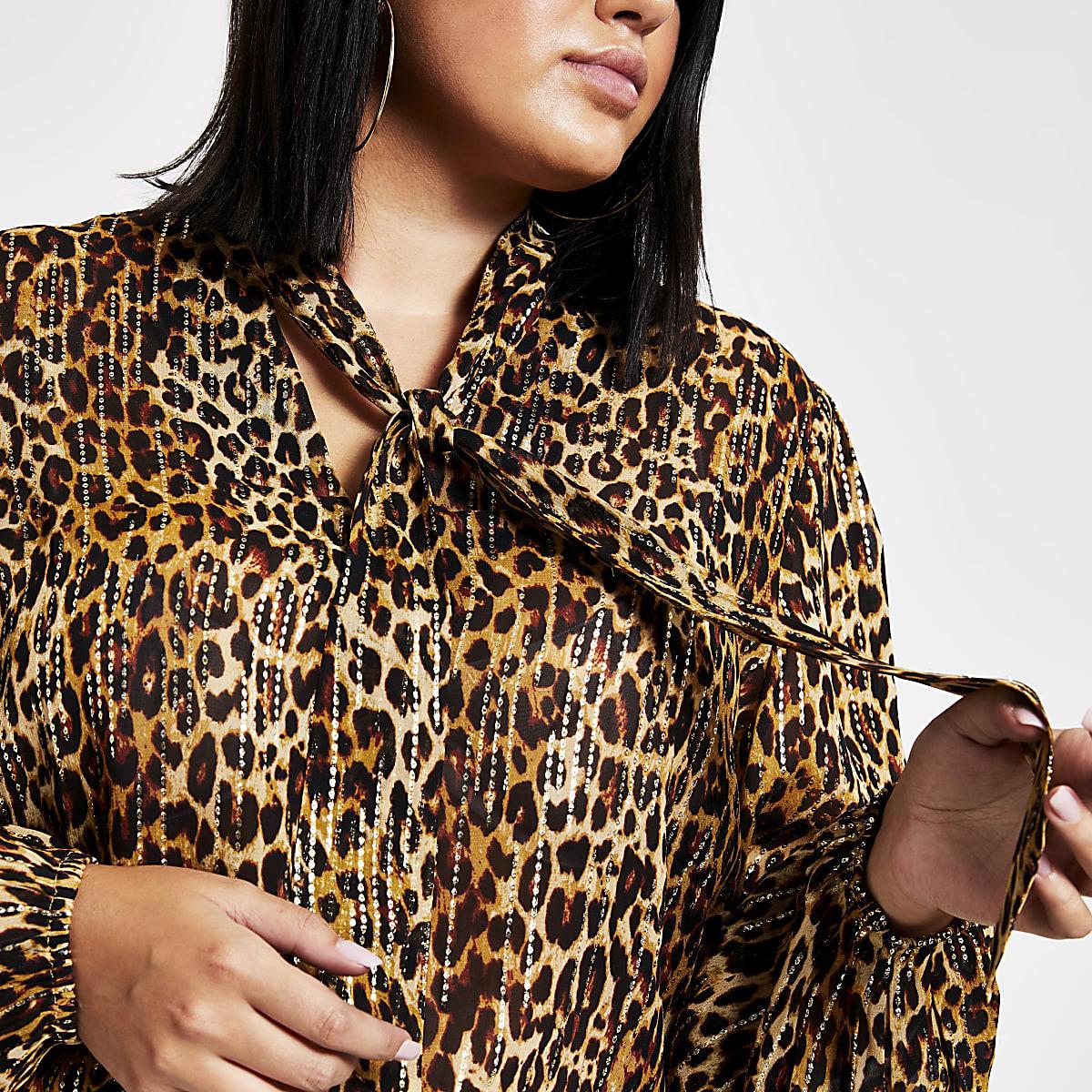 Plus brown leopard print tie neck blouse