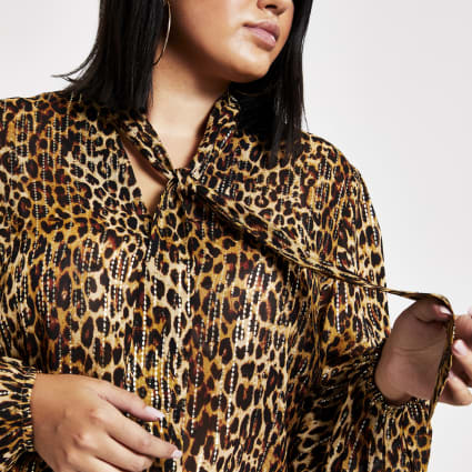 Plus brown leopard print tie neck blouse