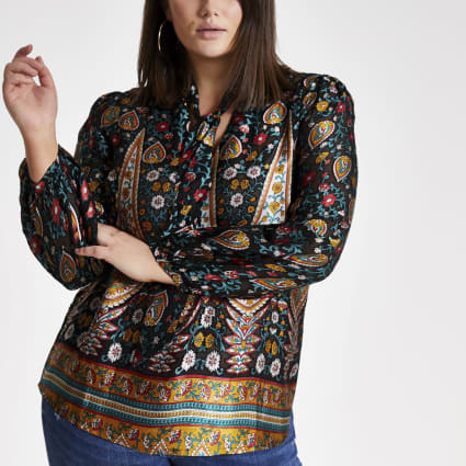 Plus black paisley print tie neck blouse