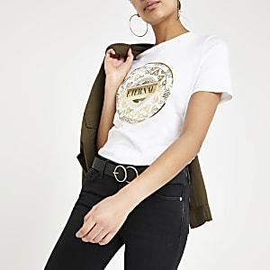 Wit T-shirt met camouflage- en cirkelprint