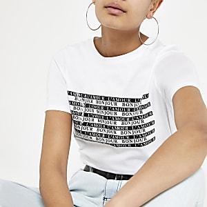 Weißes T-Shirt mit Slogan