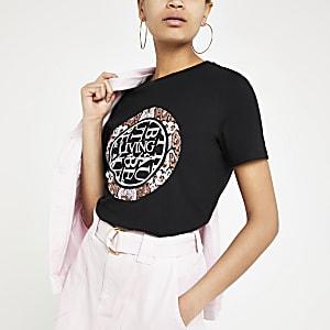 Zwart 'Living for the future' T-shirt