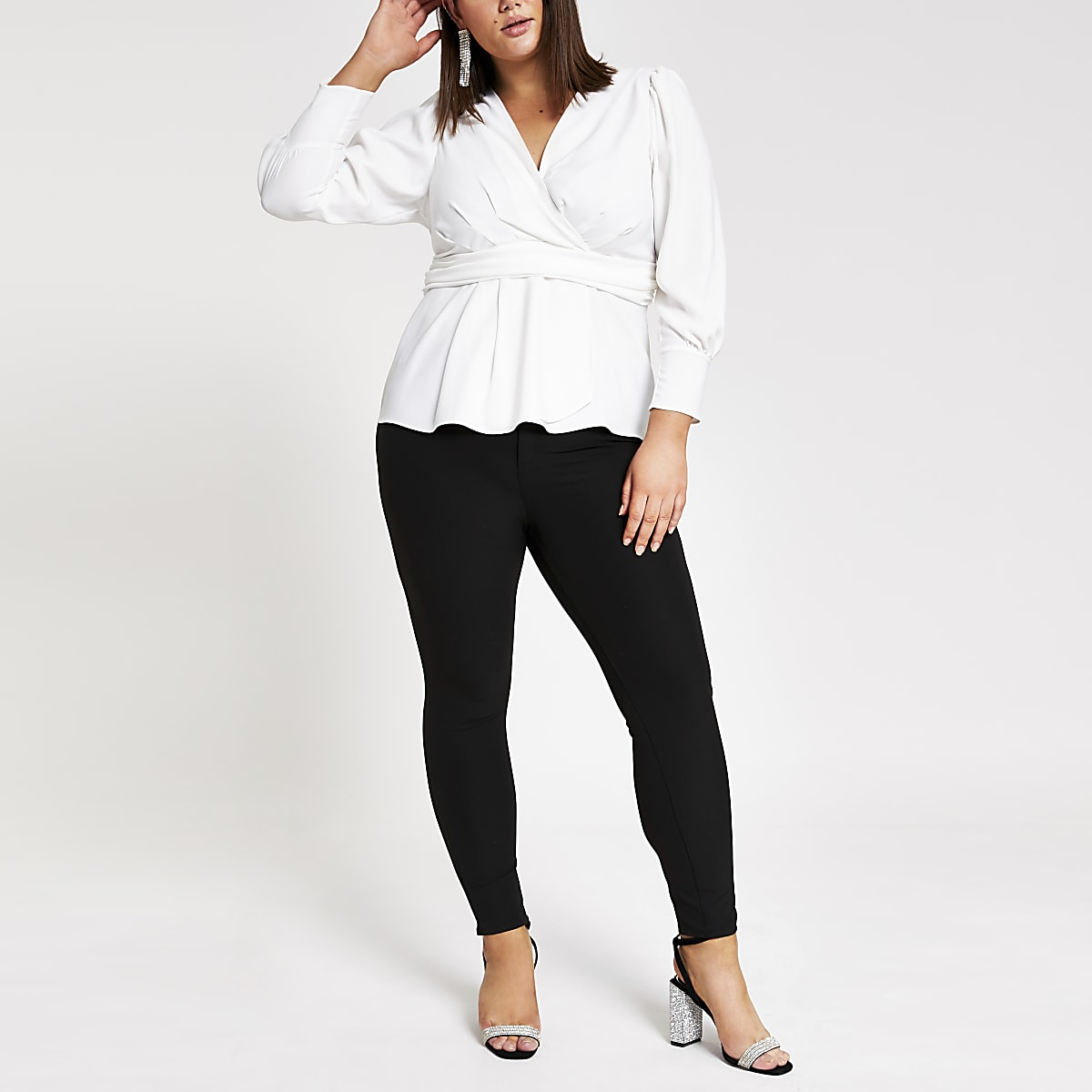 Plus white wrap front blouse