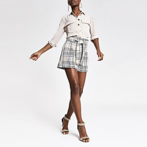 Blue check belted shorts