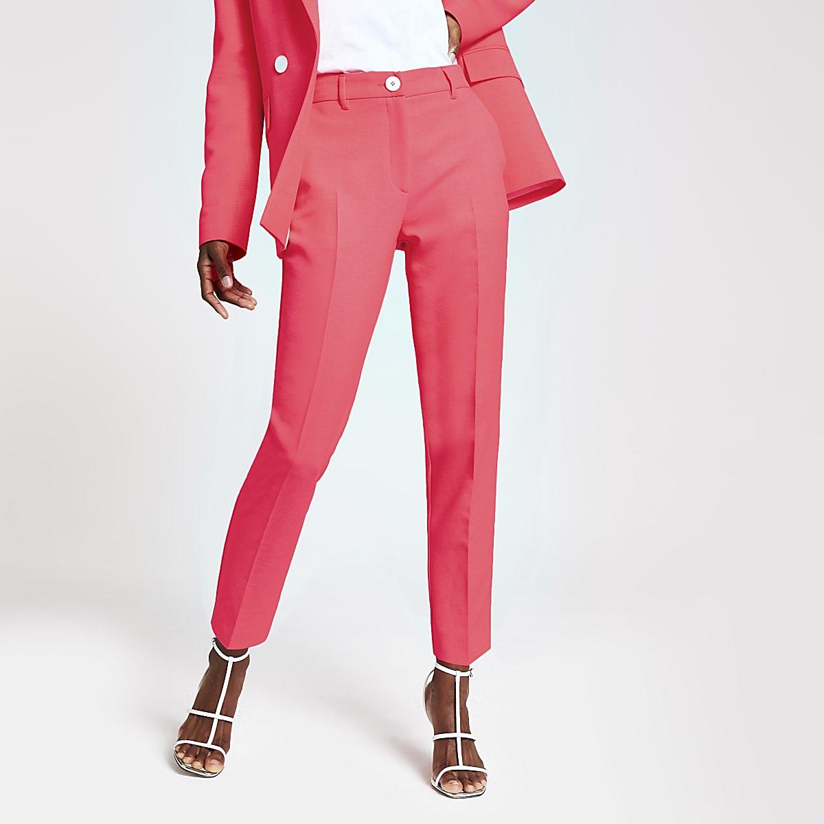 Pantalon cigarette rose fluo