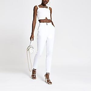 White cigarette trousers