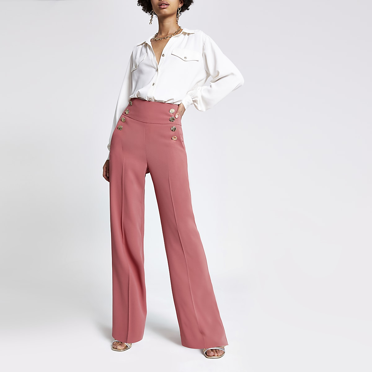 Pantalon large rose foncé