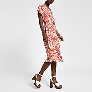 Red print midi shirt dress