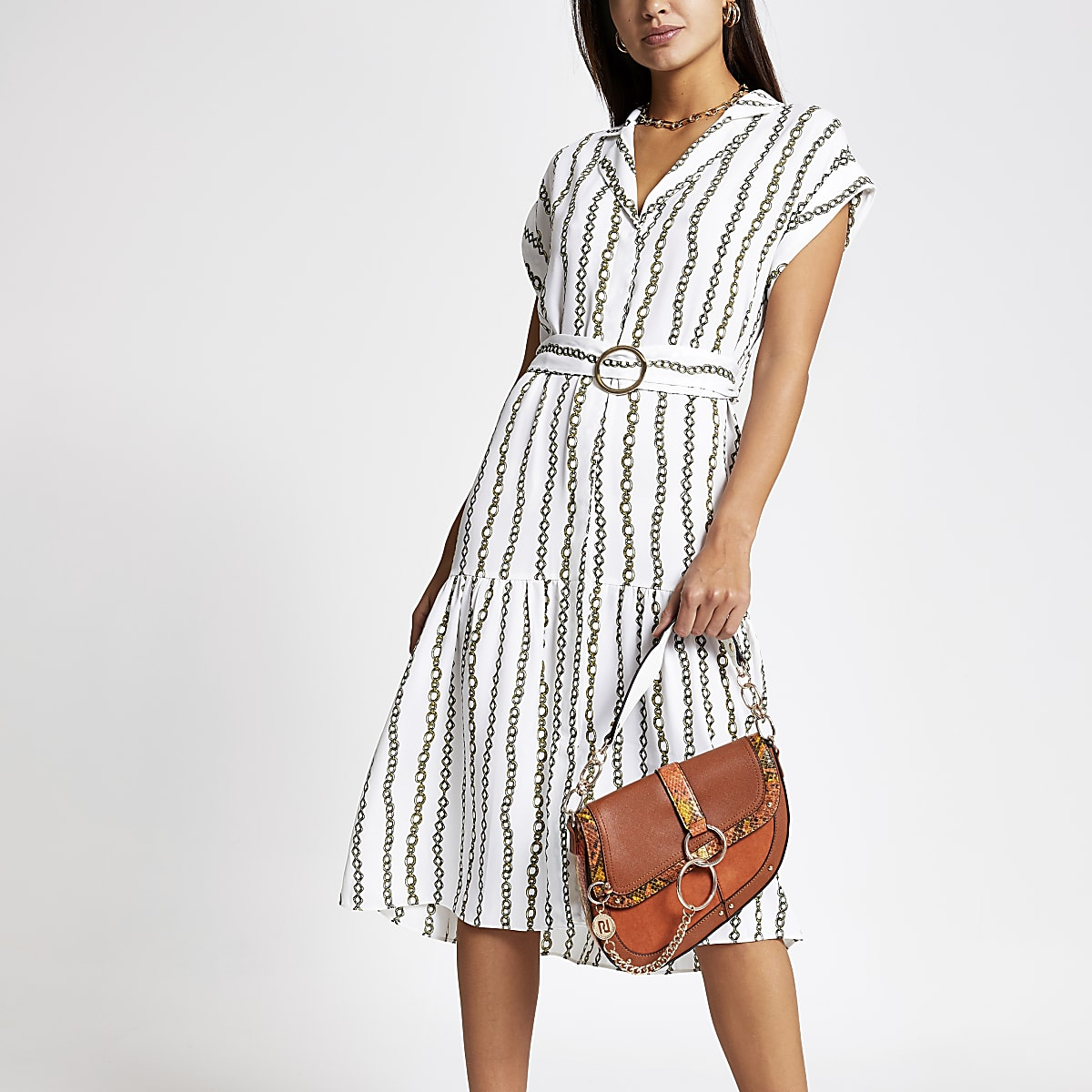 White chain print midi shirt dress