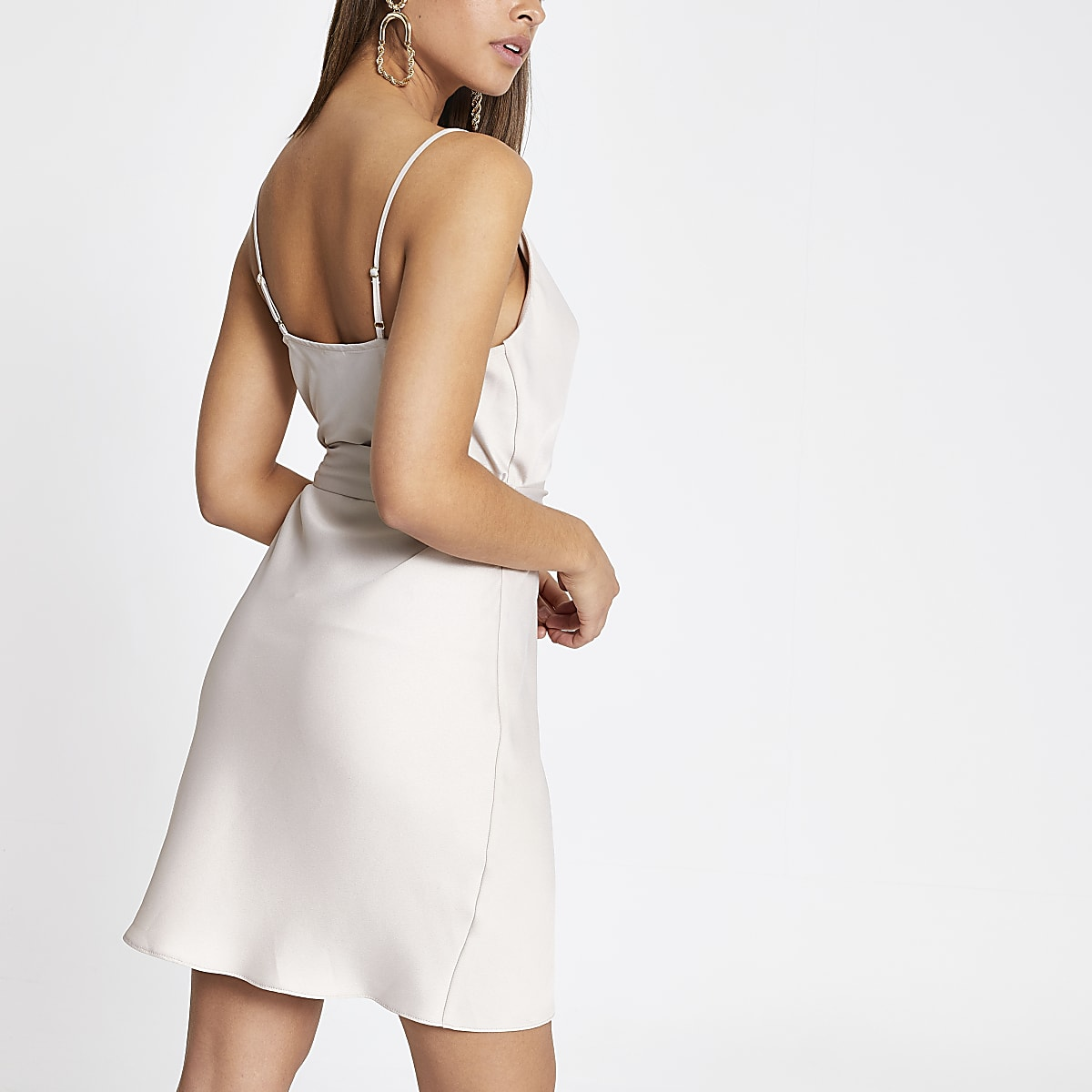 5b59c0e8fa44a Beige cowl neck belted slip dress - Slip & Cami Dresses - Dresses ...