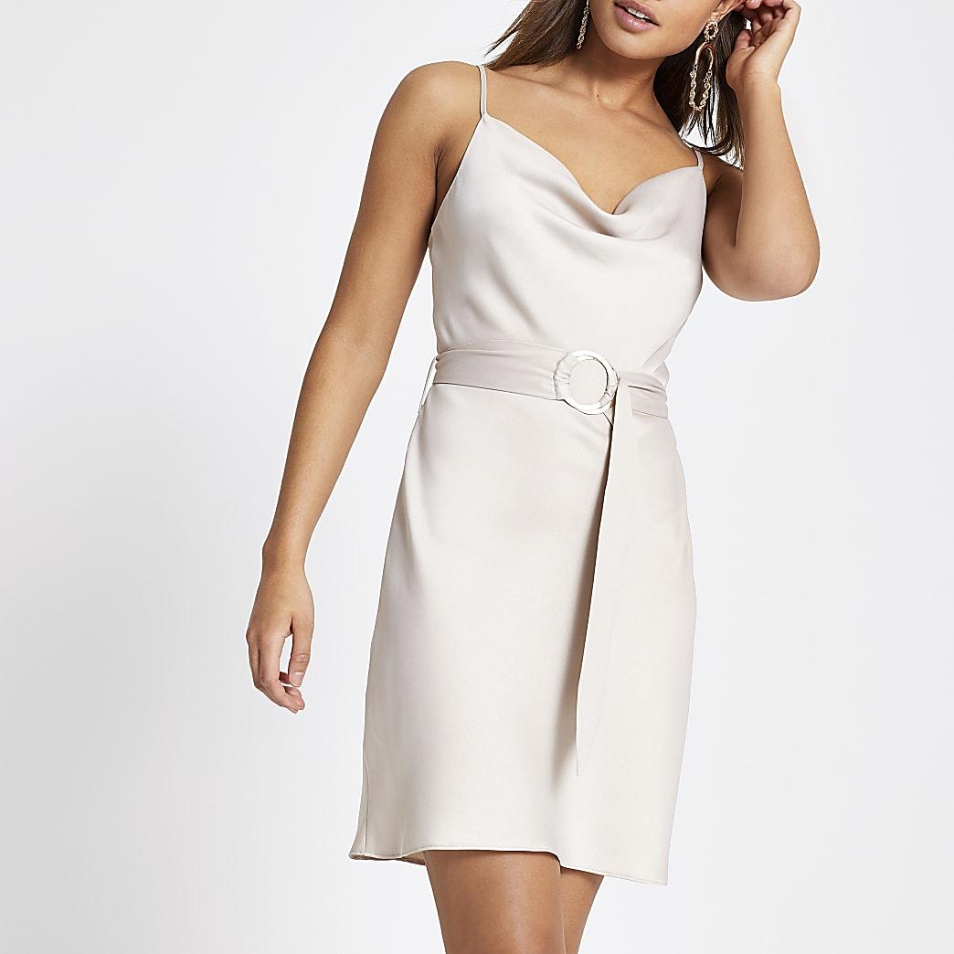 Beige cowl neck belted slip dress