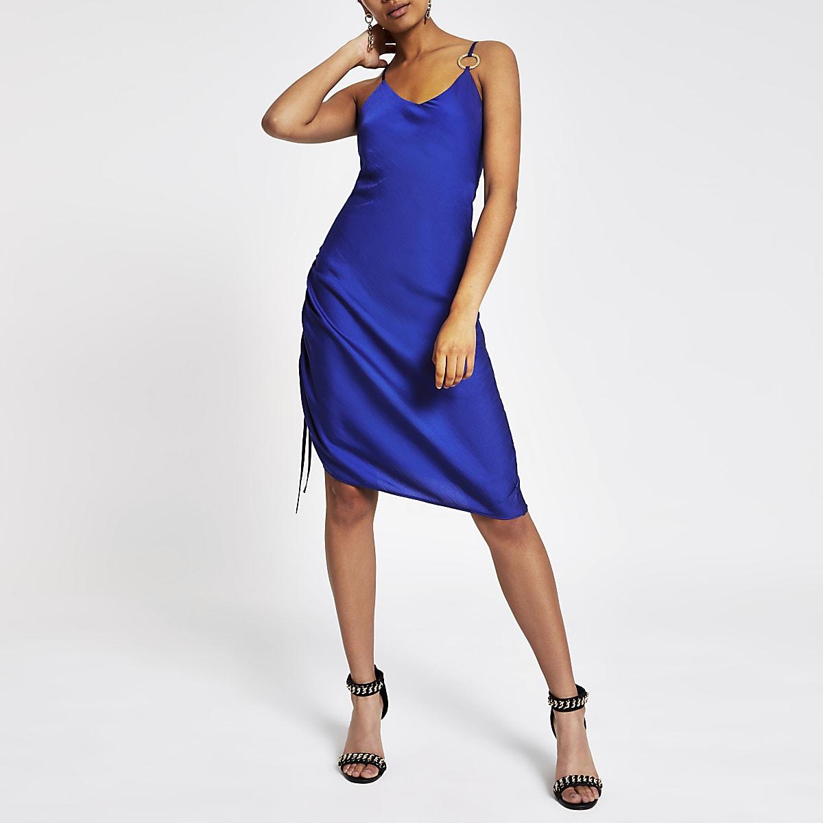 Blue ruched slip midi dress