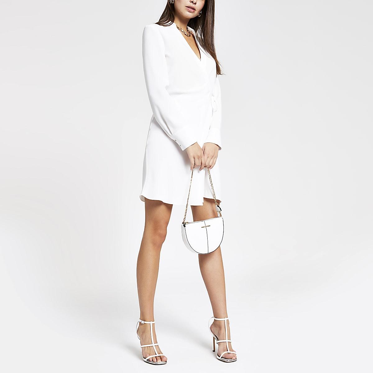 White mini shirt dress