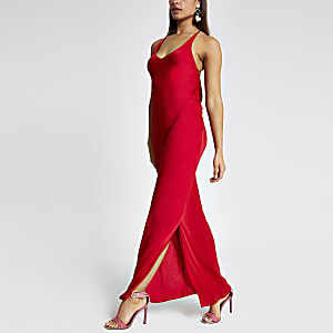 Red slip maxi dress