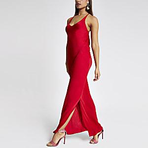 Red slip maxi dress