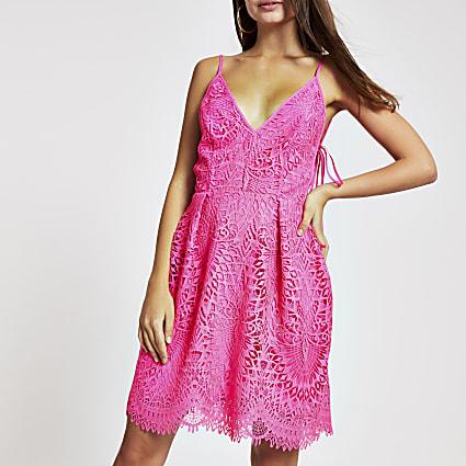 Pink lace skater dress