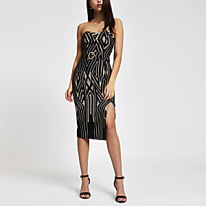 Black print belted bodycon dress