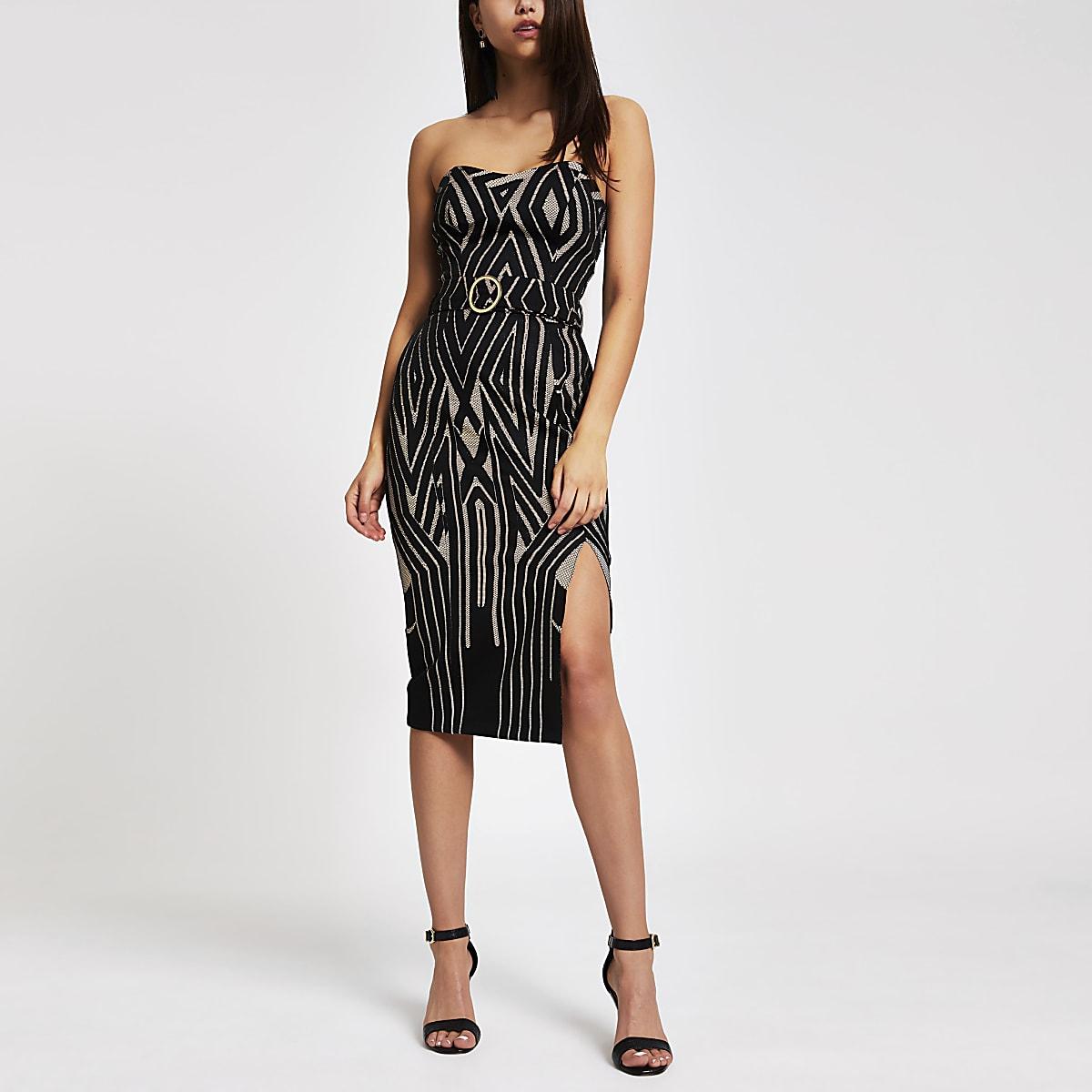 Black print belted bodycon dress