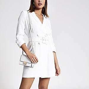 White tux bodycon dress
