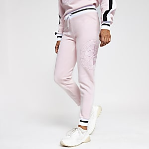 Petite pink 'Prolific' embroidered joggers