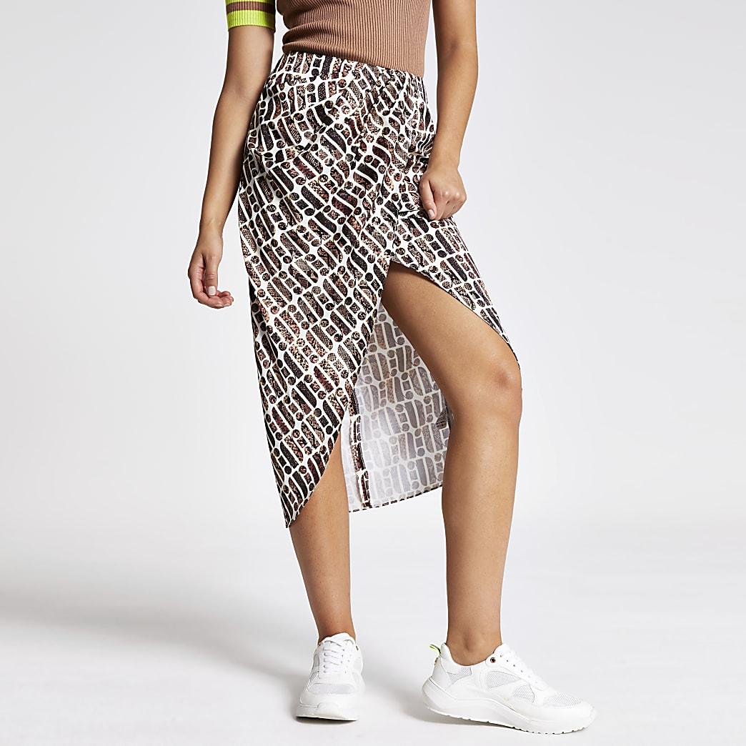 Beige print wrap midi skirt