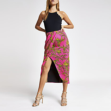 Pink printed wrap midi skirt