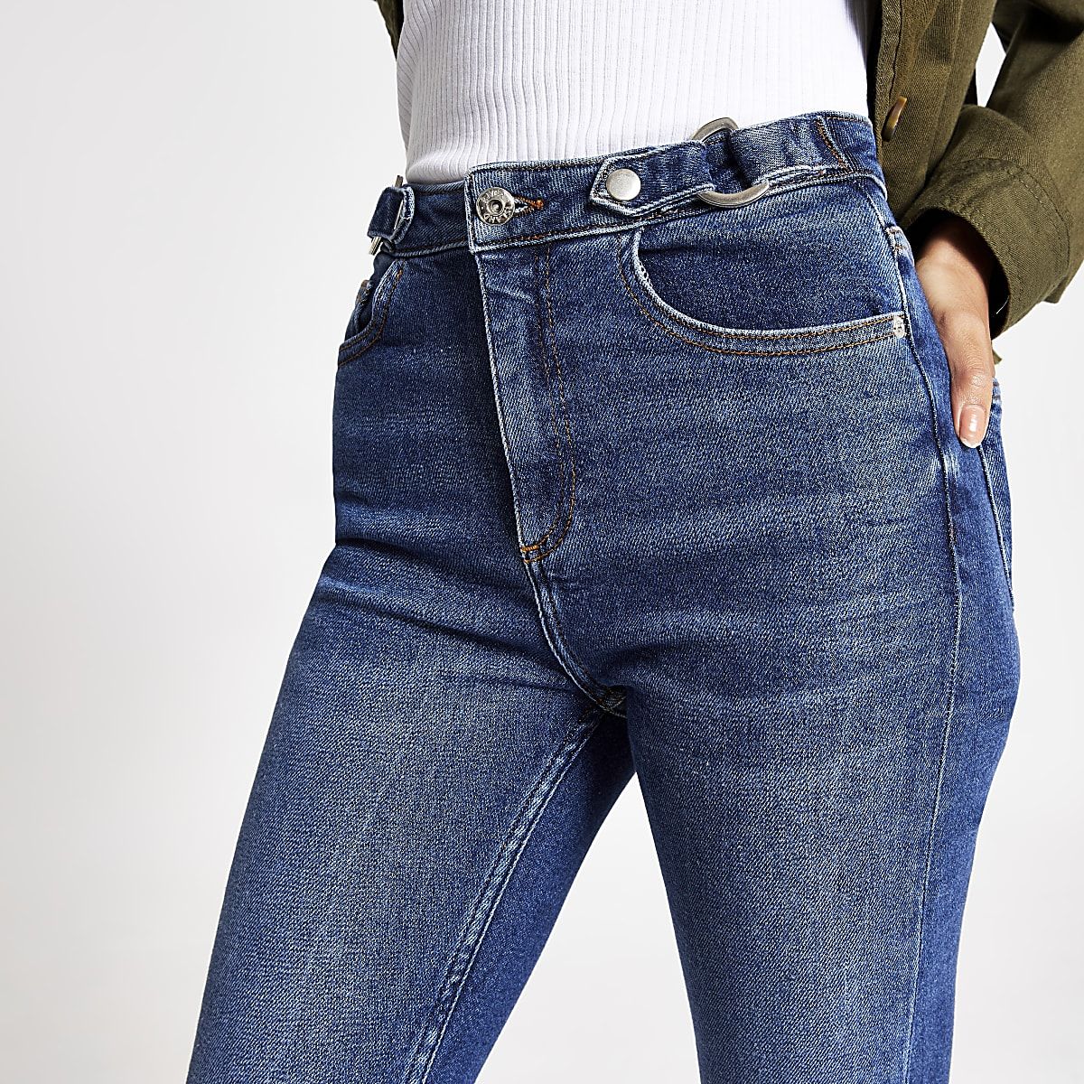 Mid blue Hailey high rise belted jeans