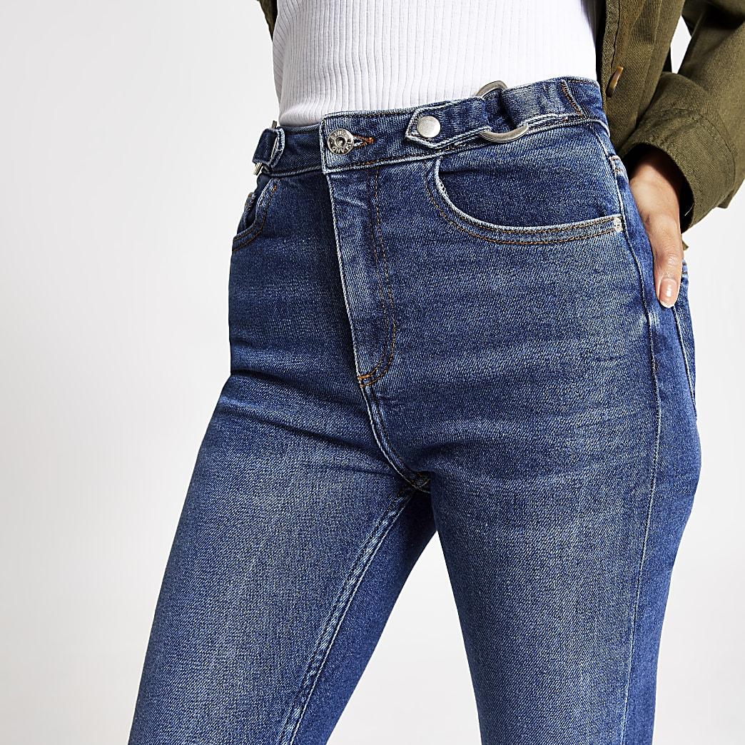Hailey - Middenblauwe jeans met hoge taille en ceintuur