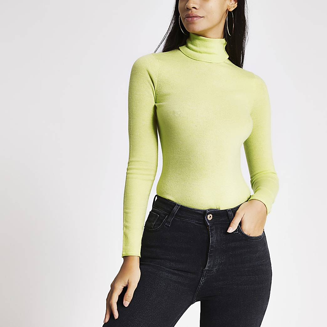 Neon green long sleeve roll neck knitted top
