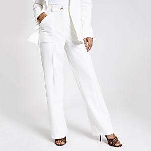 White wide leg utility trousers