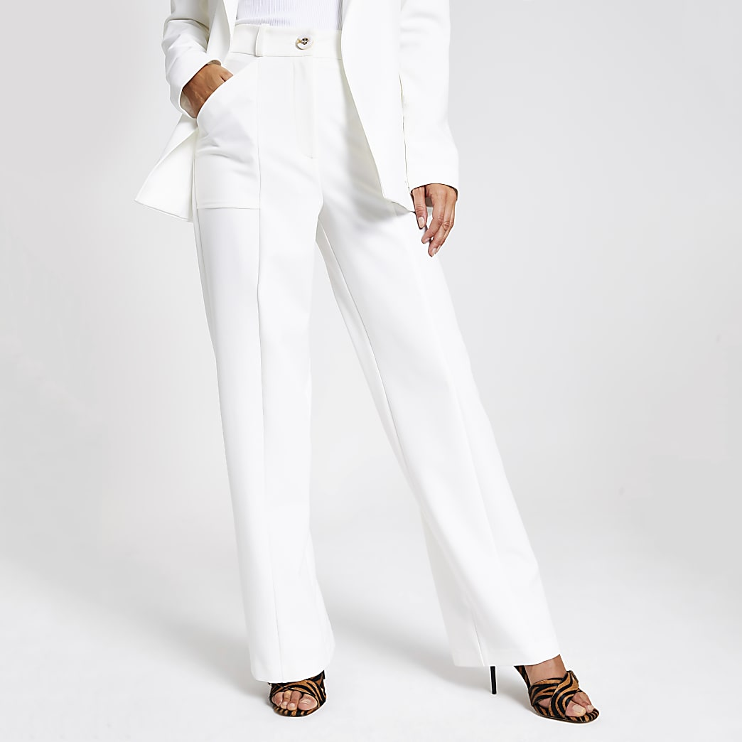 Witte utility-broek met wijde pijpen