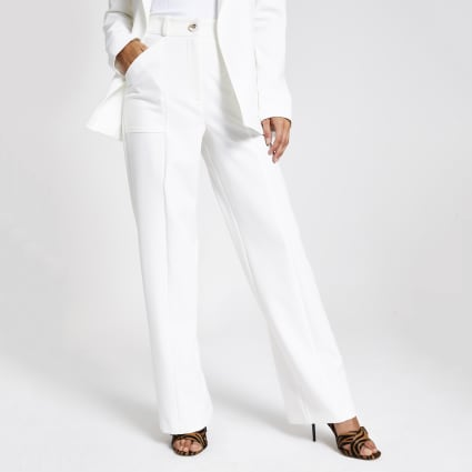 White wide leg utility trousers