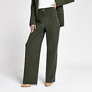 Khaki wide leg utility trousers