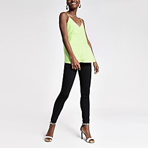 Lime asymmetric frill cami top