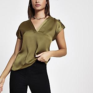 Khaki T-Shirt mit V-Ausschnitt