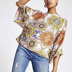 Pink scarf print cape top