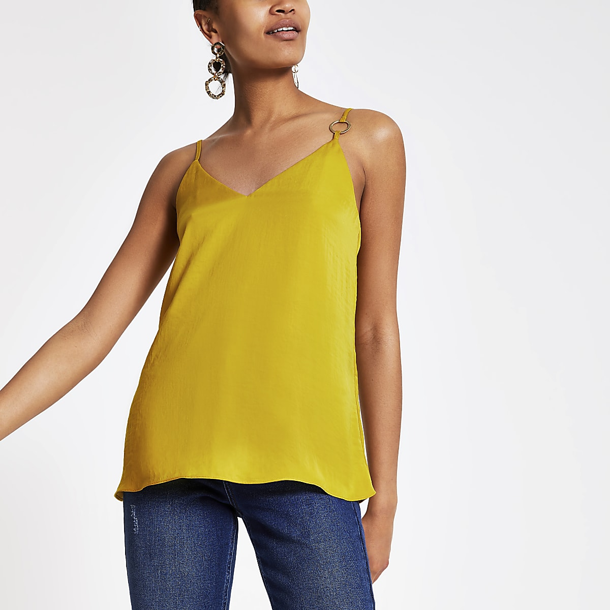 River Island Mustard Yellow Ring V Neck Cami Top