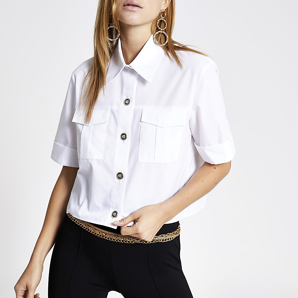White cropped utility shirt